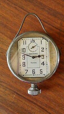 Antique Vtg New Haven 8 Day Bezel Automobile Car Clock Hanging