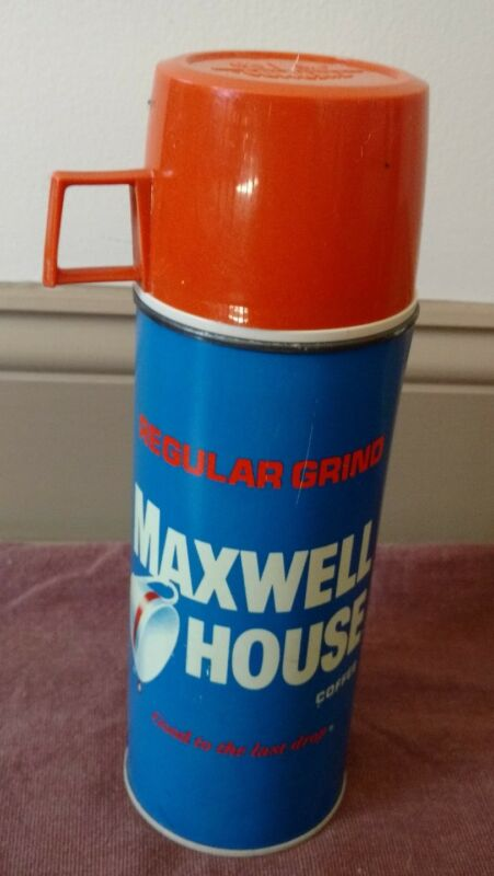 Vintage MAXWELL HOUSE COFFEE Metal Thermos Bottle Division King Seeley Complete
