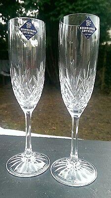 Pair Edinburgh Crystal Tay Cut Pattern Champagne Flutes Glasses - Signed 21cm.