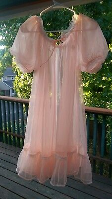 Vtg 50s Lisette Lingerie peach orange Nylon Chiffon babydoll  Short Robe M