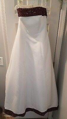 Fall Wedding Dress Sz 8 David's Bridal White/Wine w/Veil FAST SHIP!!