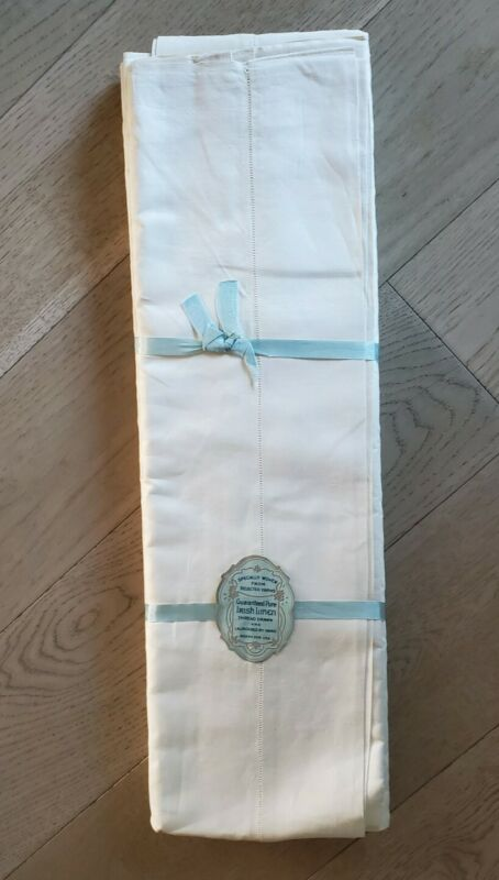 "Rare Pair Vintage Pure Irish Linen Sheets 90x108""; Hemstitched at both ends; NOS"