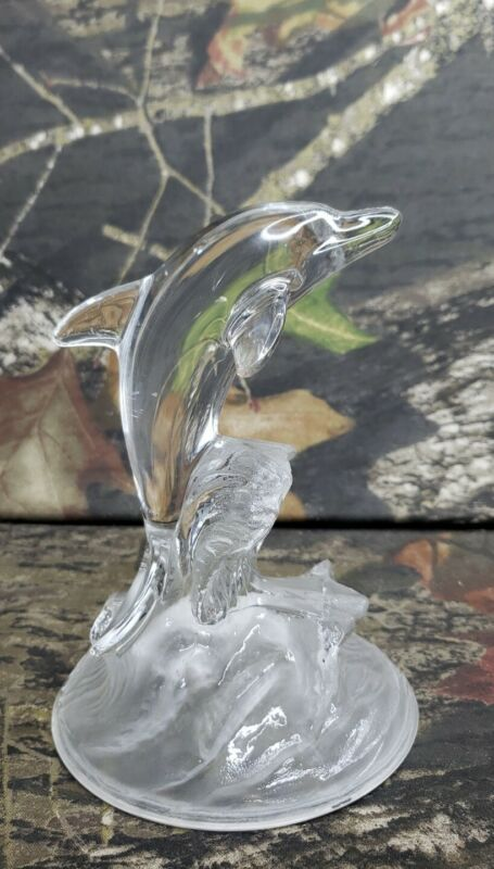 Clear Glass Dolphin On Glass Frosted Wave Decorative Figurines