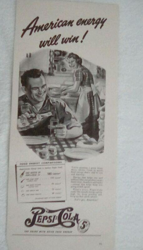 Vintage Pepsi WWII Ad 1940s Double Dot