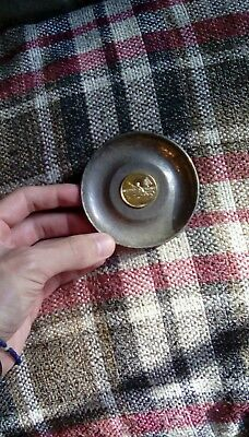 Silver plated pin tray with canoeing medallion