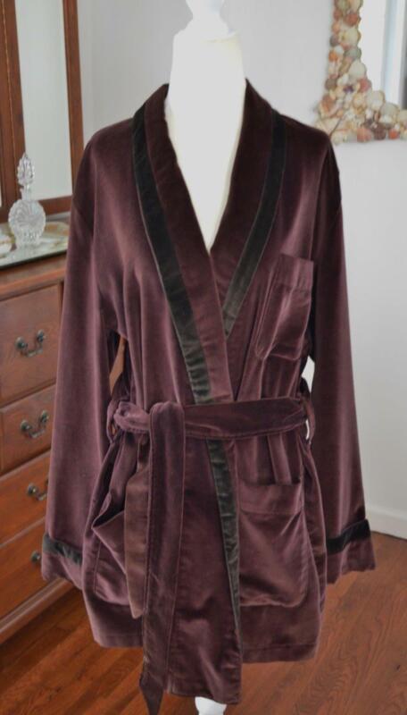 RARE! Mens Vtg STATE O MAINE for Macys Brown Velvet Smoking Jacket Robe! M