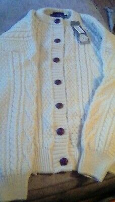ACORN medium braided pattern button wool sweater nwr