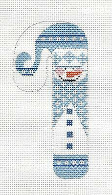 (SP.ORDER ~  SM. Candy Cane Blue Snowman handpainted Needlepoint Canvas by Danji)