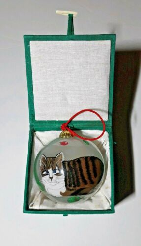 Vintage 1997 Hand Painted Glass Cat Ornament Excellent Used Condition