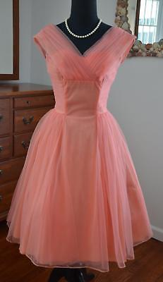 (GLAM! Vtg 50s Coral Pink Pleated Nylon Chiffon Full Skirt Party Prom Dress! XS-S)
