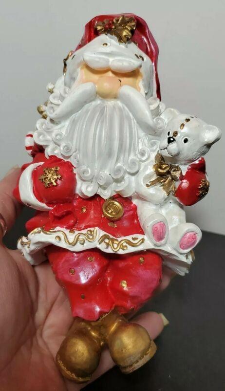 "Vintage Santa Stone Stocking Hanger Original Packaging 7"" Red and White w/ Bear"