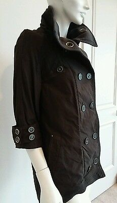 Free people black/dark olive coat jacket 3/4 sleeve sz 8 M NWT  $268