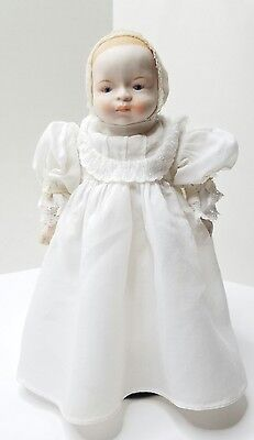 """Vtg Japan Porcelain Baby Doll Straw Cloth Body 9"""" Church or Christening Gown"""