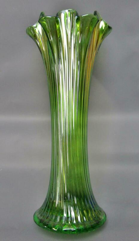 "Northwood FINE RIB Green Carnival Glass 11"" Swung Vase w/ 3 ⅝"" Base F069"