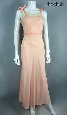 Heavenly Vintage 1930s Silk Crepe Bias Cut Lace Pintuck Pleats Boudoir NightGown