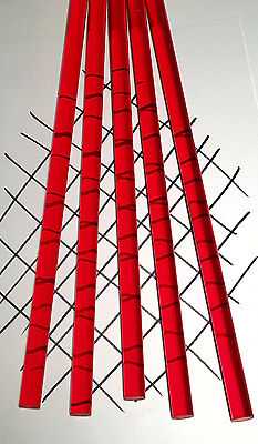 """5 PC 1/2"""" DIAMETER 12"""" INCH LONG CLEAR RED ACRYLIC PLEXIGLASS LUCITE COLORED ROD"""