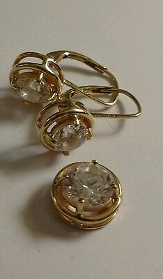 14k Solid Gold Earrings & Pendant Set, CZ, 5 Grams