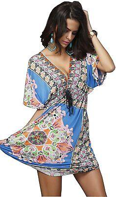 Wander Agio Womens Lace Short Sleeves Princess Dress Printin