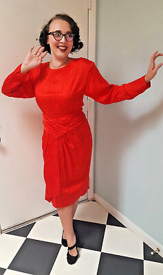 Vintage Red Silk Cocktail Dress Evening Party 10 Fire Flames NOS 80s 90s