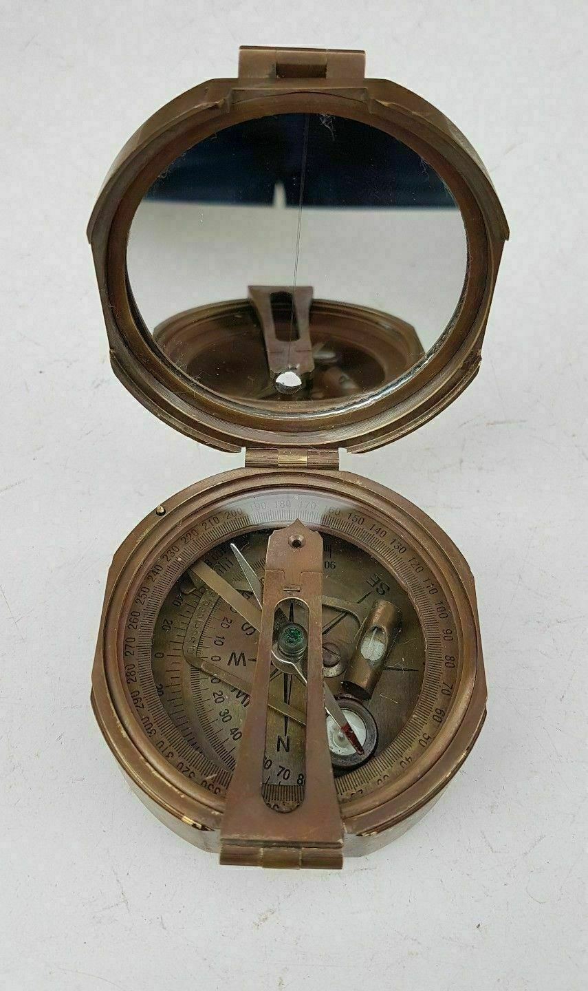 Antique Stanley London Nautical Brass Brunton Compass With Wooden Box  - $29.00
