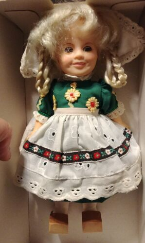"Vintage Shirley Temple Ideal Doll 1982 Heidi 8"" with wooden shoes NIB"