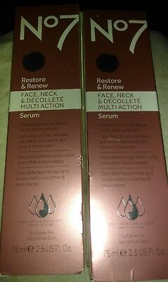 Lot of 2~Boots No7 Restore and Renew Face, Neck & Decollete Serum 2.5 oz