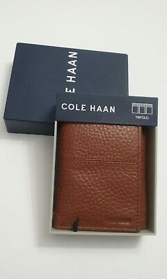 Cole Haan Pebble Leather Trifold Wallet British Tan Mens New $88#R7
