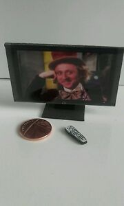 Dolls house 1/12th scale miniature tv television with remote (made from foam)