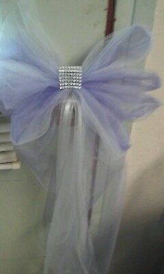 10 Wedding Pew Bows Lavender Silver  And White  $35 Rush orders avail - Lavender And White Wedding