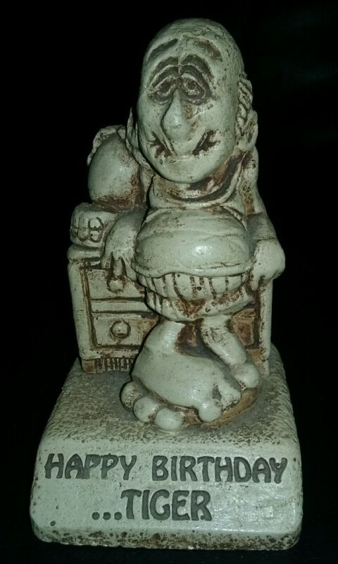 "1976 Paula Statue W:516 ""Happy Birthday...Tiger"" figure present vintage cool"