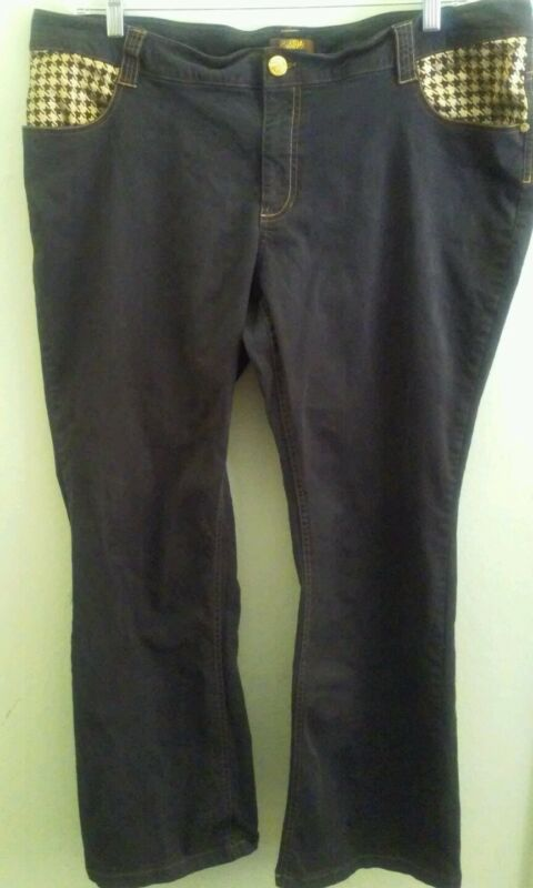Southpole Women's Soft Black Pants - Size 22 Cotton and Spandex - Gold Pockets
