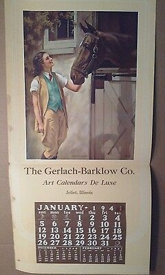 ADELAIDE HIEBEL PRINT - WOMAN & HER HORSE - READY FOR A CANTOR - 1942 CALENDAR