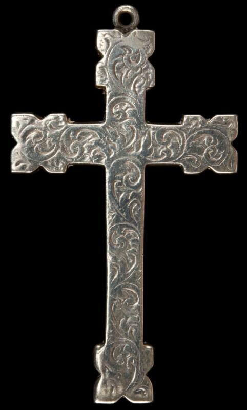 Antique Victorian 1800's Henry Cook Sterling Silver Large Cross Pendant