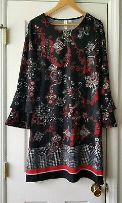 Tacera womens sweater dress size L black red print shift style bell sleeve