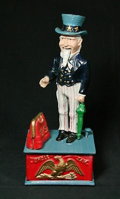 Vintage Early Reproduction Cast Iron Uncle Sam Bank