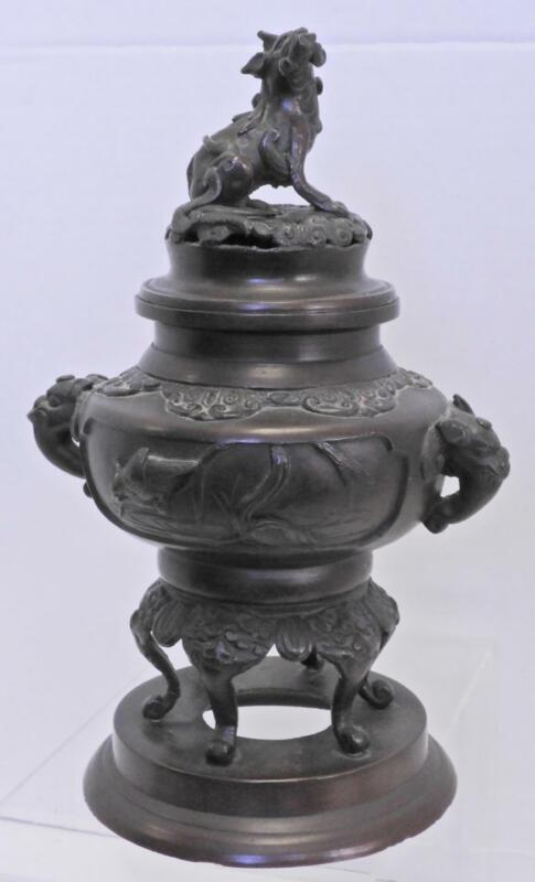Antique Chinese Bronze Incense Censer - Kirin Resting On Wave Finial