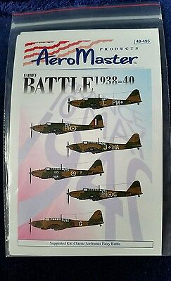AEROMASTER DECALS 48-495 Fairey BATTLE 1938-40 ~ 1:48 ~ 2000 UNUSED