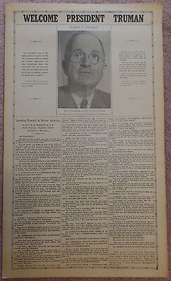 1945 Welcome President Harry Truman Poster Words of Advice from Dr. Herrstrom