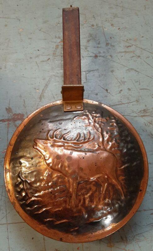 Primitive Antique Copper Brass Bed Warmer Wood Handle Chestnut Roaster Pan