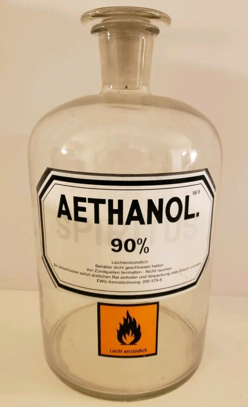 """Antique 13.5"""" Aethanol Clear Glass Victorian Apothecary Laboratory Bottle Jar"""