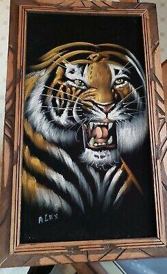 Vintage Paint On Velvet Tiger Painting Mexico Alex