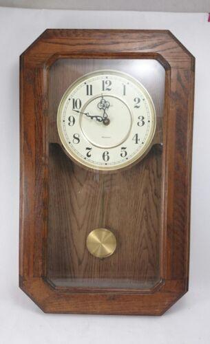 HOWARD MILLER Vintage Electronic Quartz Wall Clock WESTMINSTER Oak Low Profile