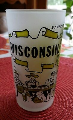 Vintage WISCONSIN Drinking Frosted Glass Black & White & Yellow-Green
