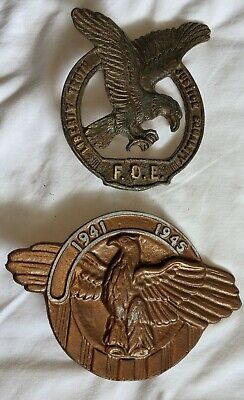 Vintage F.O.E. Heavy Brass EAGLE * Grave Marker * LIBERTY TRUTH JUSTICE EQUALITY