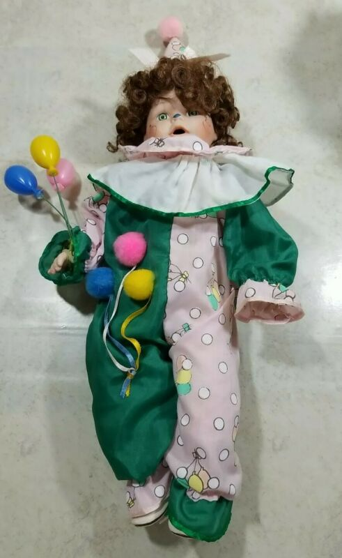 Vintage Porcelain Clown Doll  Girl With Balloons