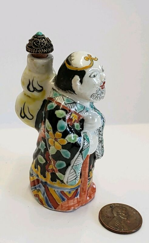Antique Figural Scent or Snuff Bottle Asian Chinese handpainted porcelain