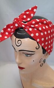 ROCKABILLY LAND GIRL HEADBAND HEAD SCARF RED  POLKA DOTS 1940s 1950s PIN UP