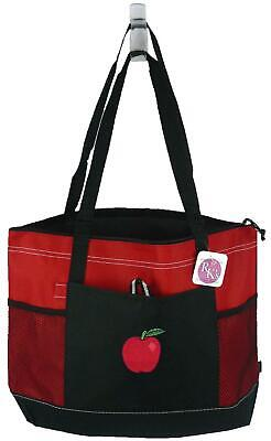 Teacher Apple Tote - Apple Monogram Bag Red Gemline Zipper Tote Fall Fruit Farm Class Teacher Gift