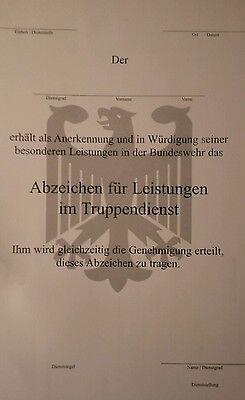 Bundeswehr:Urkunde:Abzeichen für Leistungen im Truppendienst .Blanko A4