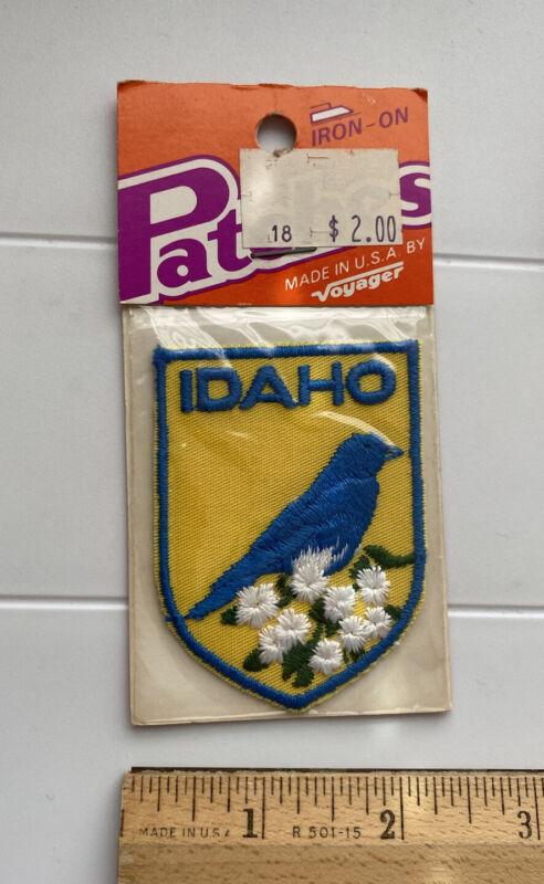 NIP Idaho Mountain Bluebird State Bird Syringa Flower Voyager Iron-on Patch